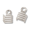 Connector - Fold Over Rib 5x7mm Silver Plated (10-Pcs)