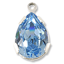 Swarovski Pear Shape Drop 14x10mm Aquamarine Rhodium Plated (1-Pc)