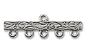 Pewter 5-Strand Scroll Vine End Bar 31x10mm Silver (1-Pc)