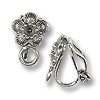 Clip-On Cherry Blossom Earring 13x9mm Pewter Antique Silver Plated (1-Pc)