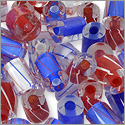 Cane Glass Beads - Red - White and Blue Mix (Ounce)
