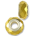 Faceted Large Hole Glass Bead with Grommet 14x8mm Gold (1-Pc)