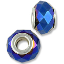 14x8mm Cobalt AB Faceted Large Hole Glass Bead with Grommet (1-Pc)