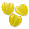Cat's Eye Heart Bead 8mm Yellow (100-Pcs)