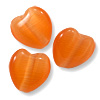 Cat's Eye Heart Bead 8mm Orange (100-Pcs)