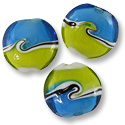 Puffy Round Lampwork Bead 22mm Blue with Yellow Waves (1-Pc)