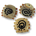 Flat Round Lampwork Bead 20mm Tan with Black Swirls (40-Pcs)