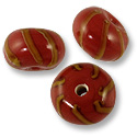 Rondell Lampwork Bead 9x14mm Red with Tan Swirl Stripes (3-Pcs)