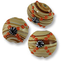 Puffy Round Lampwork Bead 16mm Tan Stripes with Orange Designs (40-Pcs)