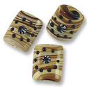 Chicklet Lampwork Bead 15x18mm Tan Stripes with Black Dots (20-Pcs)