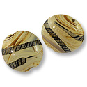 Puffy Round Lampwork Bead 25mm Tan with Brown Stripes (1-Pc)