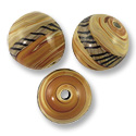 Round Lampwork Bead 14mm Tan with Brown Stripes (1-Pc)