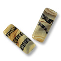 Flat Rectangle Lampwork Bead 11x26mm Tan with Black Stripes (28-Pcs)
