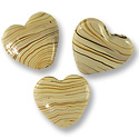 Flat Heart Lampwork Bead 25mm Tan with Brown Stripes (15-Pcs)