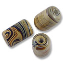 Lampwork Bead 15x9mm Brown with Tan Swirls (1-Pc)