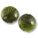 Puffy Round Lampwork Bead 22mm Green with Light Green Swirls (1-Pc)