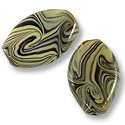 Flat Oval Lampwork Bead 18x26mm Tan with Grey and Black Swirls (1-Pc)