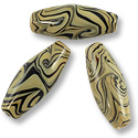 Oval Lampwork Bead 10x24mm Tan with Black Swirls (1-Pc)