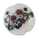 Lampwork Glass Bead Puffy Round 18mm White/Gold/Red (1-Pc)