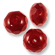 Czech Fire Polished Donut 6x9mm Ruby (10-Pcs)