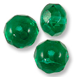 Czech Fire Polished Donut 6x9mm Emerald (10-Pcs)