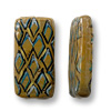 Hand Painted Glass Flat Rectangle Tortoise Shell Bead 35x18mm (1-Pc)