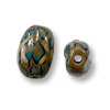 Hand Painted Glass Flat Oval Tortoise Shell Bead 9x14mm (2-Pcs)
