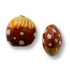 Hand Painted Glass Flat Round Deer Bead 13mm (2-Pcs)