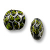 Hand Painted Glass Flat Round Alligator Bead 13mm (2-Pcs)