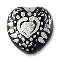 Hand Painted Glass Heart Bead 20mm Silver (1-Pc)