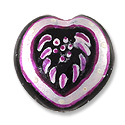 Hand Painted Glass Bead Heart 20mm Pink (1-Pc)