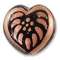 Hand Painted Glass Heart Bead 20mm Copper (1-Pc)
