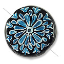 Hand Painted Glass Bead Flat Round 22mm Turquoise (1-Pc)