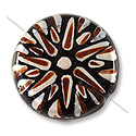 Hand Painted Glass Bead Flat Round 22mm Brown (1-Pc)