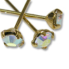 Swarovski 1-½ Inch Gold Plated Head Pin with 3mm Crystal AB Chaton (2-Pcs)
