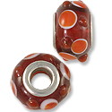 Lampwork Glass Bead Large Hole with Grommet 13x8mm Red/White Dots (1-Pc)