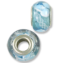 Lampwork Glass Bead Large Hole with Grommet 13x8mm Aqua/White (1-Pc)