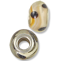 Lampwork Glass Bead Large Hole with Grommet 13x8mm Tan/Brown Dots (1-Pc)