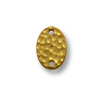 TierraCast Link - Oval Hammered 13x9mm Pewter Bright Gold Plated (1-Pc)