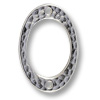 TierraCast Hammered Oval Connector Pewter Bright Rhodium Plated 25x17mm (1-Pc)
