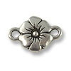 TierraCast Flower Connector Pewter Antique Silver Plated 19x12mm (1-Pc)
