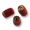 Red Porcelain Tube Beads 11x6mm (3-Pcs)