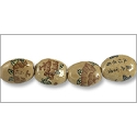 Chinese Character Beads Oval with Lotus Flower 15x12mm Porcelain (4-Pcs)