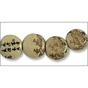 Chinese Character Beads Flat Coin 14mm W/Lotus Flower Porcelain (100-Pcs)
