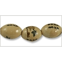 Chinese Character Beads Oval with Lotus Flower 18x13mm Porcelain (3-Pcs)