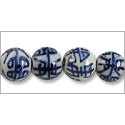 Chinese Character Beads Round 10mm Cobalt Blue and White Porcelain (100-Pcs)