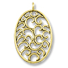 Pendant | Oval Filigree Scrolls 39x25mm Pewter Antique Gold Plated