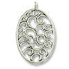 39x25mm Antique Silver Plated Oval Filigree Scroll  Pewter Pendant