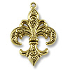 38x27mm Antique Gold Plated Fleur de Lis Pewter Pendant