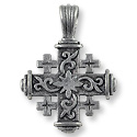 36x27mm Antique Silver Plated Jerusalem Cross Pewter Pendant